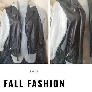 Plus faux leather jacket w/ grey sweater detail